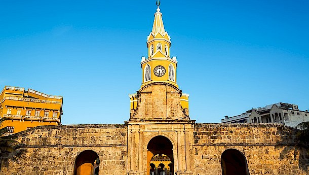 The historic clock tower gate is the main entrance into the old city of Cartagena. Photo: Jess Kraft | shutterstock.com