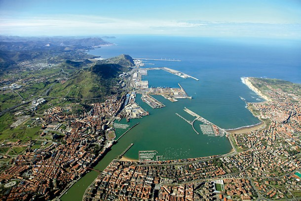 An aerial view of the Port of Bilbao on the Abra Bay, at the common mouth of the rivers Nervion, Ibaizabal and Cadagua. Photo: Port of Bilbao