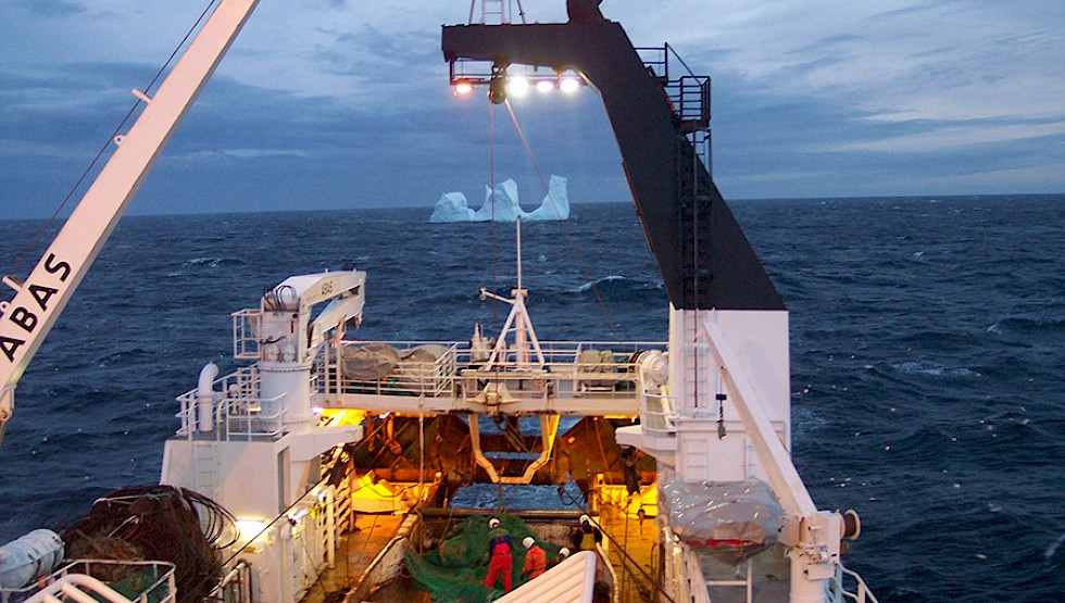 Preparing the nets in the Arctic Ocean on Gudmundur í Nesi, one of Brim Seafood's vessels. Photo: Brim Seafood