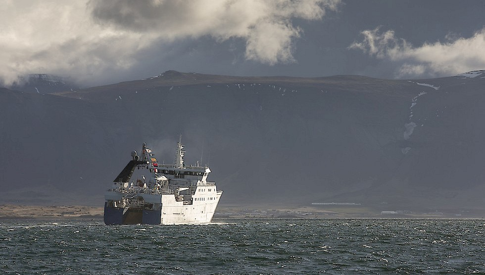 Arrival of the flag ship on a misty day. Photo: Arnaldur Halldorsson