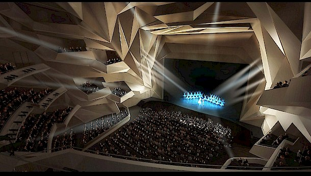 The planned Grand Theater of Rabat. Photo: Bouregreg Valley Development Agency