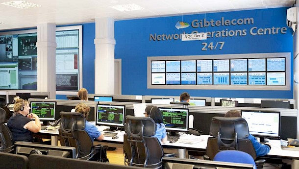 Workers at Gibtelecom Network Operations Centre