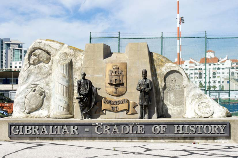 Cradle of history: this monument mirroring the outline of the Rock welcomes visitors to a destination which has a central place in human history. It includes references to the Neanderthals who inhabited the Rock long before modern man and Gibraltar's mythological role as one of the pillars of Hercules. Photo: InfoGibraltar.