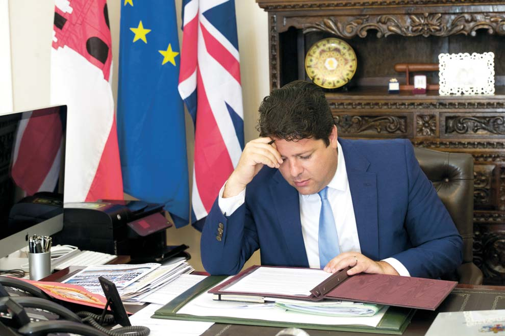 "Prime Minister Picardo at his offices at 6 Convent Place, Gibraltar, colloquially known in the territory as ""Number 6"".