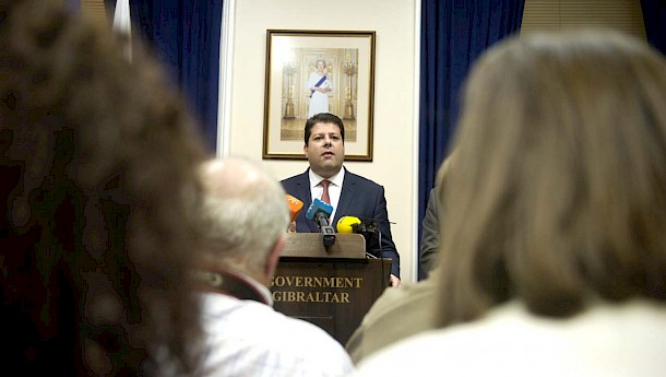 Prime Minister Picardo addressing a group of journalists. Photo: Marcos Moreno. InfoGibraltar.