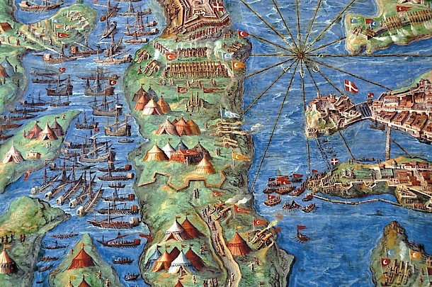 The Great Siege of Malta, painted between 1580 and 1583 by Italian priest Ignazio Danti, is kept in the Gallery of Maps in the Vatican