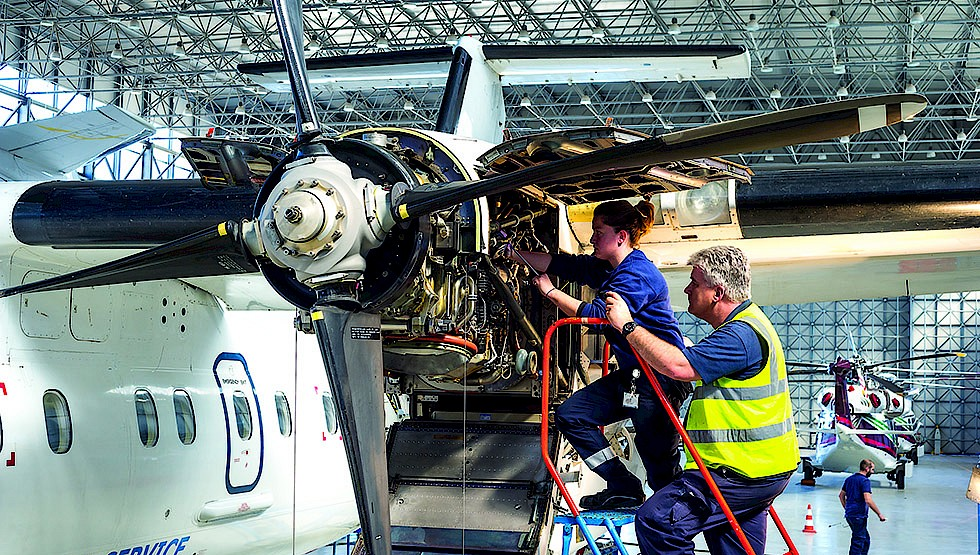 Aircraft maintenance work being carried out by Medavia.