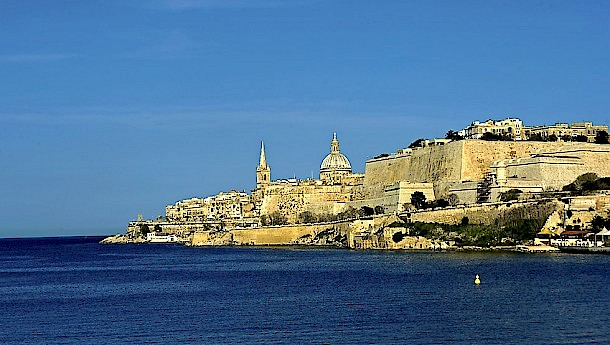 The Maltese capital Valletta viewed by boat