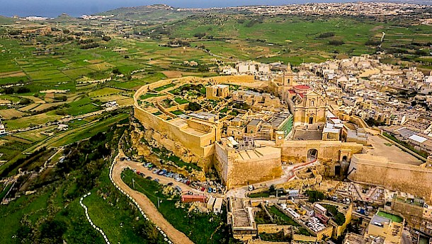The small fortified city of Cittadella overlooks Rabat in Gozo